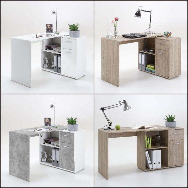 SlumberHaus Lixor Midi Home Office Computer Desk Workstation in White & Concrete Stone 2