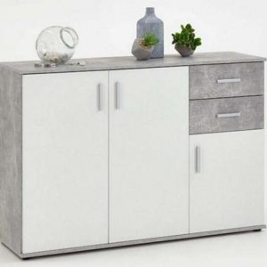 SlumberHaus Urban 3 Door 2 Draw White & Grey Stone Concrete Sideboard Cabinet Unit1