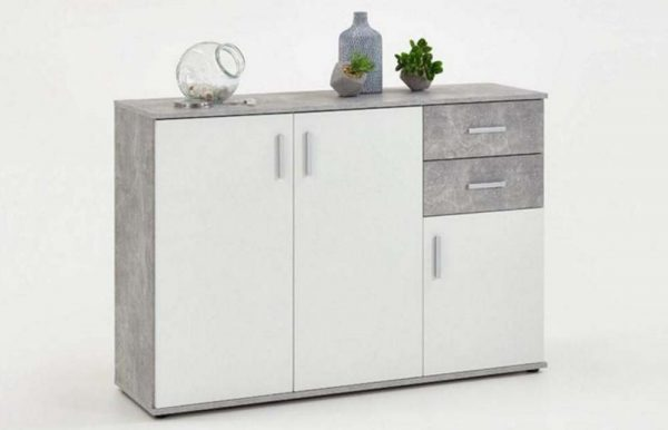 SlumberHaus Urban 3 Door 2 Draw White & Grey Stone Concrete Sideboard Cabinet Unit1