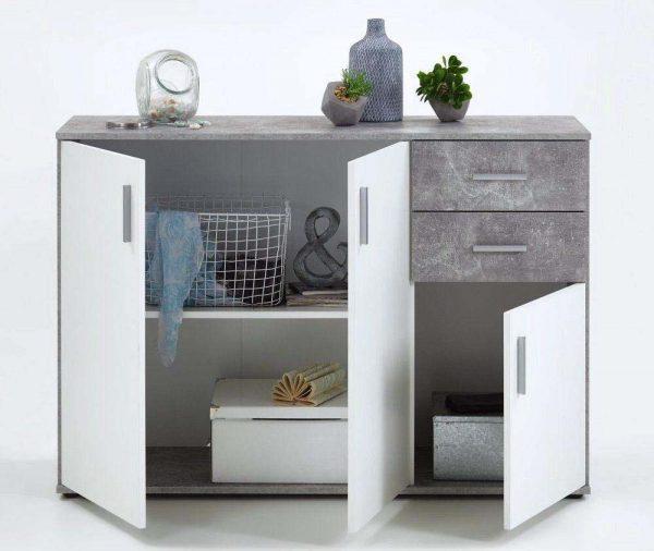 SlumberHaus Urban 3 Door 2 Draw White & Grey Stone Concrete Sideboard Cabinet Unit2
