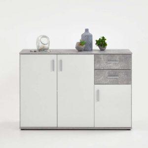 SlumberHaus Urban 3 Door 2 Draw White & Grey Stone Concrete Sideboard Cabinet Unit3