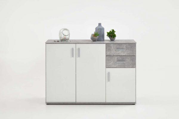 SlumberHaus Urban 3 Door 2 Draw White & Grey Stone Concrete Sideboard Cabinet Unit3