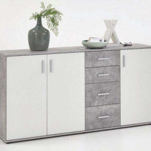 SlumberHaus Urban 3 Door 4 Draw White & Grey Stone Concrete Sideboard Cabinet Unit1