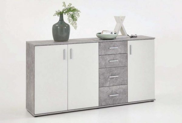 SlumberHaus Urban 3 Door 4 Draw White & Grey Stone Concrete Sideboard Cabinet Unit1