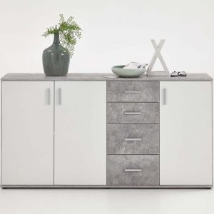 SlumberHaus Urban 3 Door 4 Draw White & Grey Stone Concrete Sideboard Cabinet Unit2