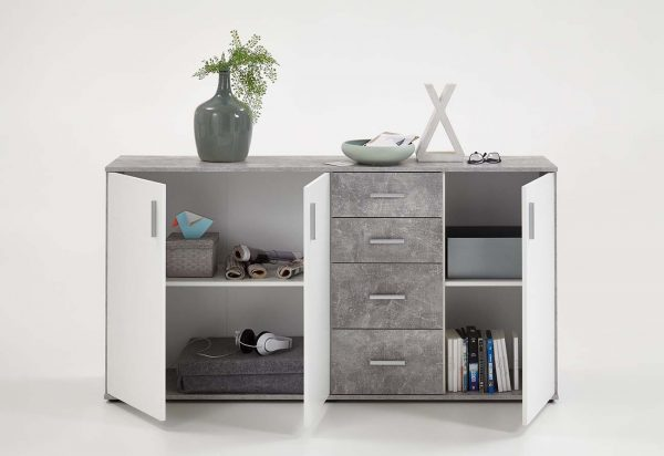 SlumberHaus Urban 3 Door 4 Draw White & Grey Stone Concrete Sideboard Cabinet Unit3