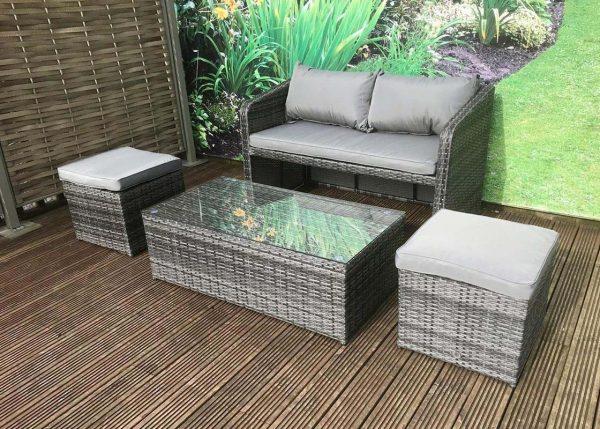 Compact Rattan Bistro Balcony Outdoor Garden Patio Coffee Dining Table Set 3