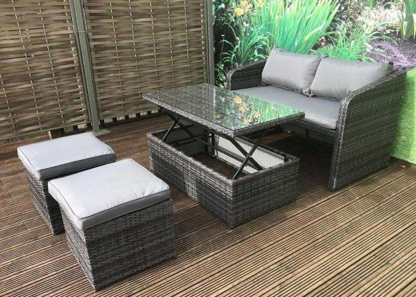 Compact Rattan Bistro Balcony Outdoor Garden Patio Coffee Dining Table Set 4
