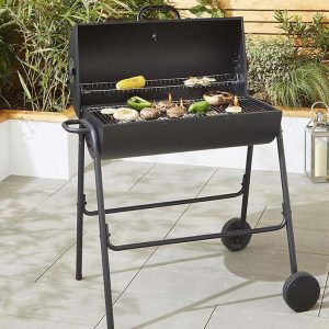 stylish black steel oil drum style charcoal BBQ with a hinged lid1