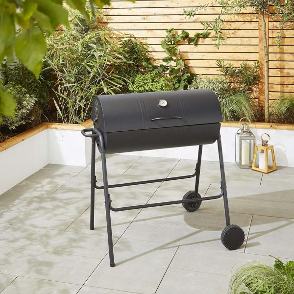 Black Steel Oil Drum Charcoal BBQ with Lid & Wheels 1