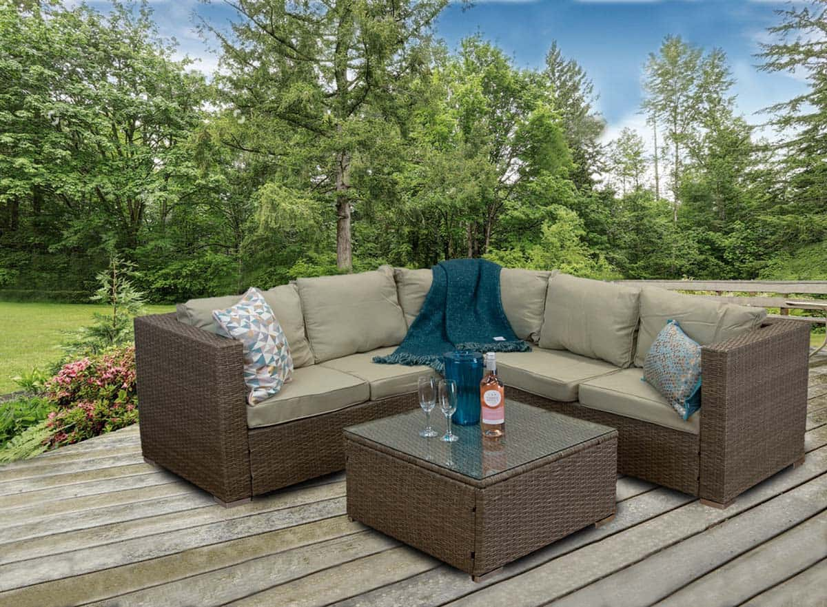 CasaGiardino Rattan Corner Sofa Outdoor Garden Furniture Coffee Table Set - Lodge Furniture UK