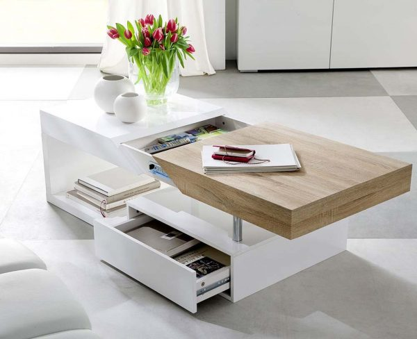 ModaNuvo 'Hope' Modern White Gloss & Oak Extending Storage Coffee Table1