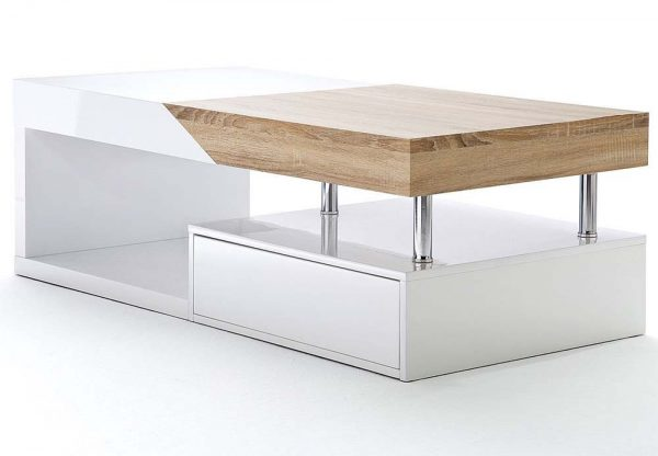 ModaNuvo 'Hope' Modern White Gloss & Oak Extending Storage Coffee Table With Drawer 1