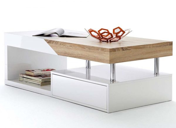 ModaNuvo 'Hope' Modern White Gloss & Oak Extending Storage Coffee Table With Drawer 2