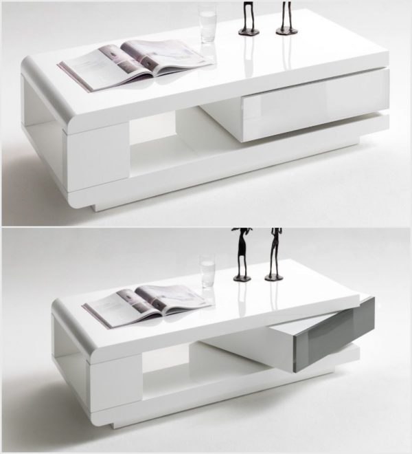 ModaNuvo IDA Modern White Grey High Gloss Storage Coffee Table With Rotating Drawer 3