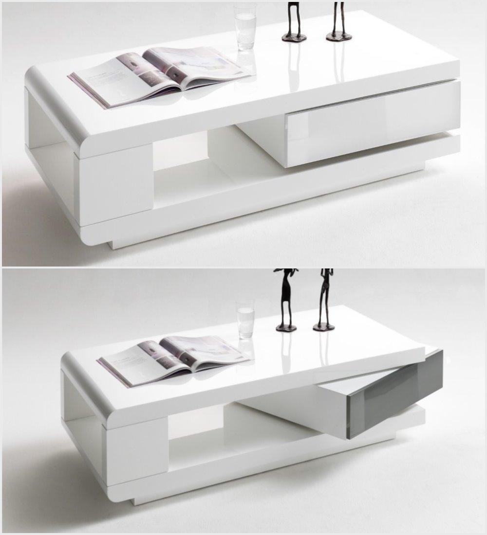 Modanuvo Ida Modern White Grey High Gloss Storage Coffee Table With Rotating Drawer Lodge Furniture Uk