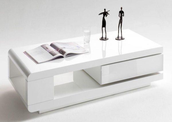 ModaNuvo IDA Modern White Grey High Gloss Storage Coffee Table With Rotating Drawer2