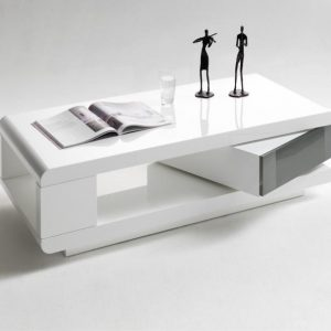 ModaNuvo IDA Modern White Grey High Gloss Storage Coffee Table With Rotating Drawer