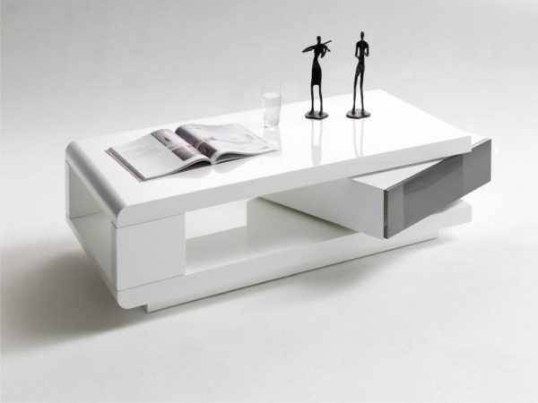 ModaNuvo IDA Modern White Grey High Gloss Storage Coffee Table With Rotating Drawer
