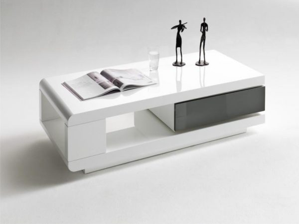 ModaNuvo IDA Modern White Grey High Gloss Storage Coffee Table With Rotating Drawer 1