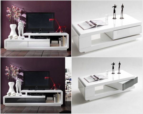 ModaNuvo IDA Modern White Grey High Gloss Storage Coffee Table With Rotating Drawer 2