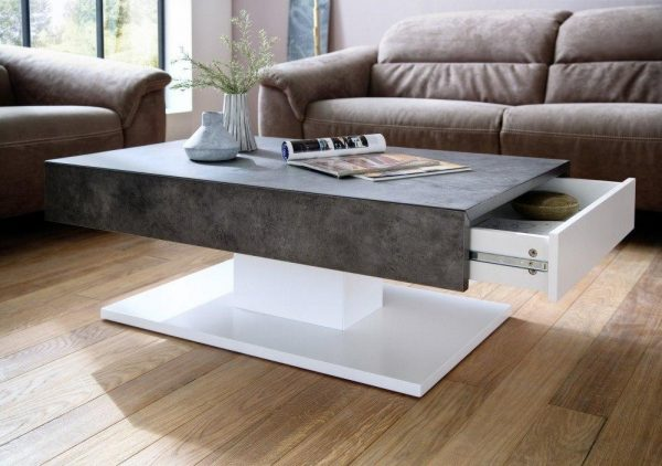 ModaNuvo Lania Modern Coffee Table White Grey