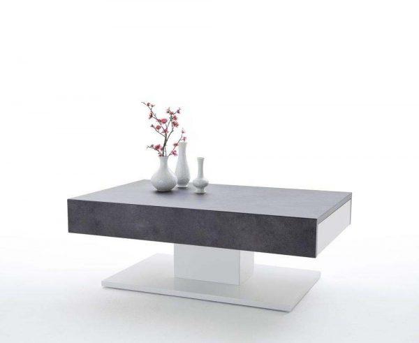 ModaNuvo 'Lania' Modern Coffee Table White & Grey Concrete Stone 1