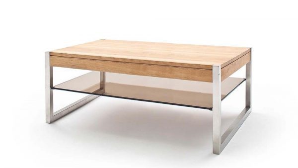 ModaNuvo 'Migel' Modern Solid Oak Coffee Table Glass Shelf Stainless Steel Metal Legs 2
