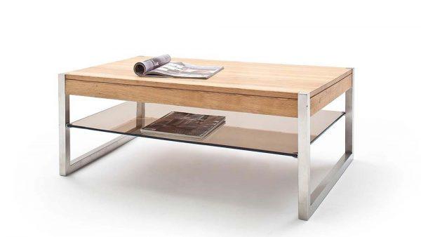 ModaNuvo 'Migel' Modern Solid Oak Coffee Table Glass Shelf Stainless Steel Metal Legs 1