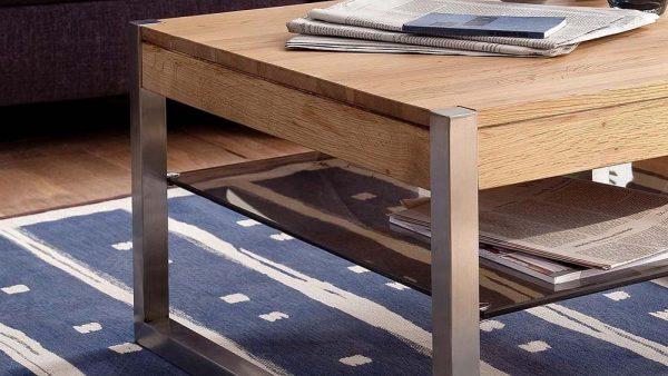 ModaNuvo 'Migel' Modern Solid Oak Coffee Table Glass Shelf Stainless Steel Metal Legs 3