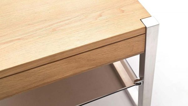 ModaNuvo 'Migel' Modern Solid Oak Coffee Table Glass Shelf Stainless Steel Metal Legs 4