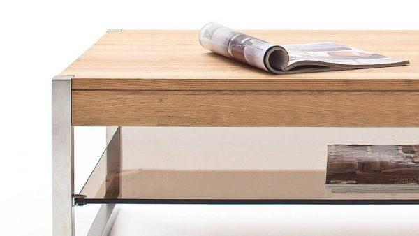 ModaNuvo 'Migel' Modern Solid Oak Coffee Table Glass Shelf Stainless Steel Metal Legs 5