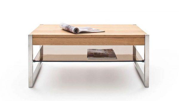 ModaNuvo 'Migel' Modern Solid Oak Coffee Table Glass Shelf