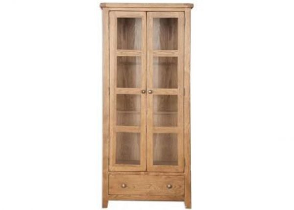 Oakwood Living Country Oak Glazed Display Cabinet