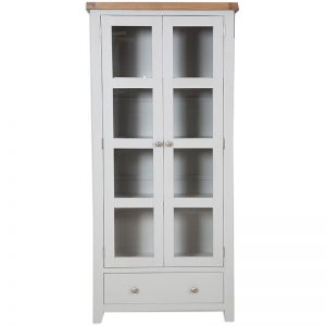 Oakwood Living Grey Painted Oak Glazed Display Cabinet