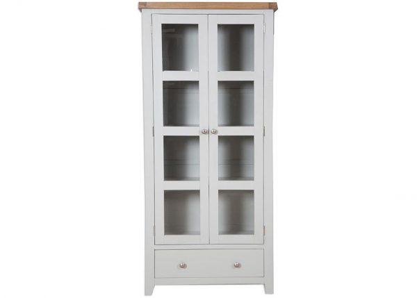 Oakwood Living Grey Painted Oak Glazed Display Cabinet