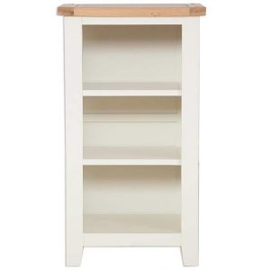 Oakwood Living Ivory Painted Oak Small Bookcase:DVD Rack