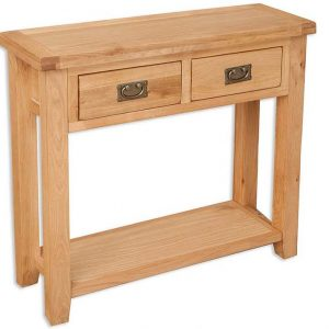 Oakwood Living Natural Oak 2 Draw Console Table