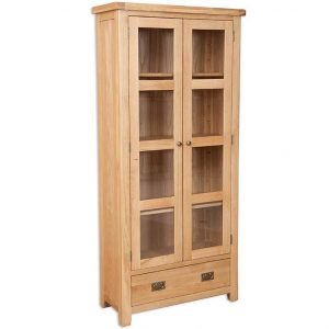 Oakwood Living Natural Oak Glazed Display Cabinet