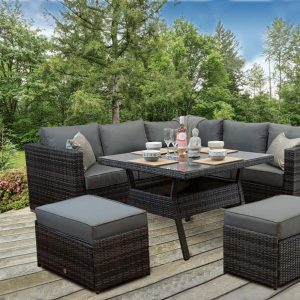 Rattan Patio Outdoor Garden Corner Sofa Dining Set grey
