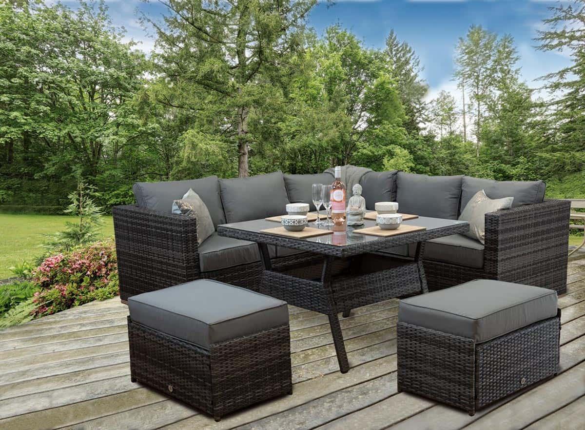 Rattan Patio Outdoor Garden Corner Sofa Dining Table ...