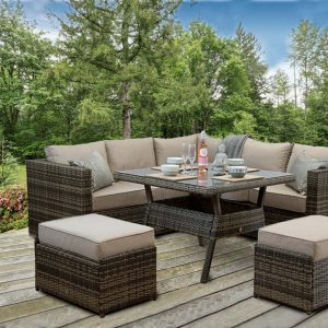 Rattan Patio Outdoor Garden Corner Sofa Dining Set