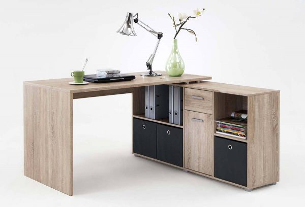 SlumberHaus Lex Oak Modern Corner Computer Desk